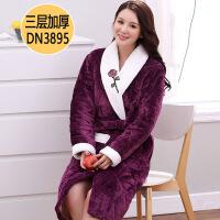 睡袍女冬法兰绒保暖加厚加长款秋冬加绒睡衣三层夹棉袄珊瑚绒
