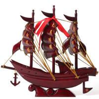 一帆风顺帆船摆件 红木雕刻工艺品 实木质风水客厅装饰品木船模型