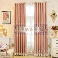 欧式窗帘粉色公主风卧室主卧浪漫温馨客厅半遮光纱帘