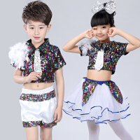 六一儿童爵士舞演出服女幼儿园现代舞蹈表演服装啦啦操亮片蓬蓬裙 +白裤袜
