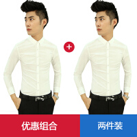 春季衬衫男长袖修身韩版帅气白色男士休闲衬衣免烫潮流发型师寸衫