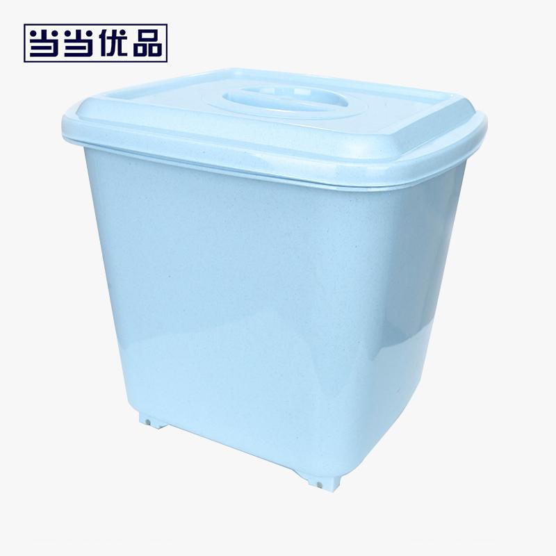 当当优品  40斤带滑轮塑料米桶 防虫防潮面粉桶 送量杯 蓝色当当自营 密封性强 4斤超大容量 送量杯 带滑轮 移动方便