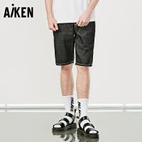 森马旗下Aiken牛仔短裤男士夏天新款潮流黑色马裤青年五分裤中裤纯棉