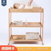 榉木婴儿尿布台护理台抚触收纳BB床移动实木换衣整理