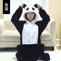 加厚法兰绒恐龙连体睡衣男女秋冬季卡通动物熊猫珊瑚绒家居服