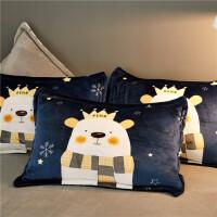 冬季法莱绒枕头套一对装保暖珊瑚绒学生宿舍加厚法兰绒枕套枕芯套 48cmX74cm