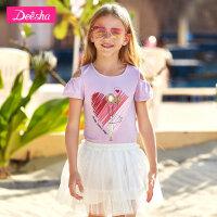 【3折价:45】笛莎童装女童T恤夏季新款小女孩打底t恤圆领儿童T恤短袖上衣