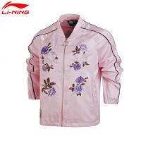 李宁夹克女款LNG女子潮流印花刺绣宽松棒球领短款运动上衣外套