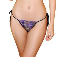 刺绣网纱绑带式女士情趣内裤7116 紫色