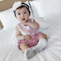 婴儿衣服夏季韩版条纹领结小女童纯棉无袖吊带背心宝宝T恤衫