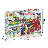 儿童大颗粒电动积木玩具轨道小火车拼装玩具1-2-3-6周岁