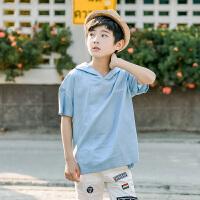 童装男童短袖T恤夏装新款儿童连帽体恤中大童男孩上衣