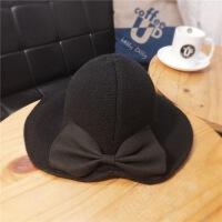 帽子秋冬款女士蝴蝶结盆帽休闲可折叠渔夫帽 M(56-58cm)