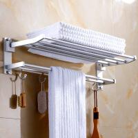 【免打孔/不损墙面】 太空铝浴室置物架 厕所厨房卫生间毛巾架浴巾架收纳壁挂