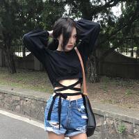 秋季女装韩版性感短款露腰交叉绑带灯笼袖T恤女气质显瘦长袖上衣