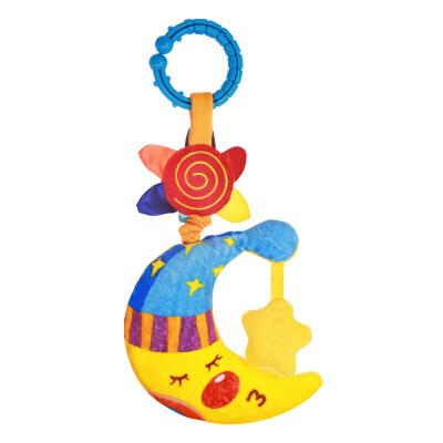 LALABABY/拉拉布书 益智玩具 宝宝车床挂布玩 内置振动器 拉动可响 晚安月亮拉震 可水洗 可啃咬