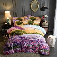 纯棉磨毛四件套全棉双人被套床单公主风1.8m简约田园花卉床上用品