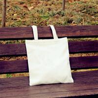 简约帆布包女单肩手提日韩国小文艺清新森系学生装书包购物袋s6 白色 空白-白包