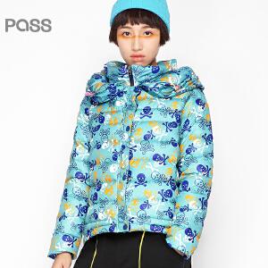 PASS原创潮牌冬装 个性堆叠领子保暖短款羽绒服女6540941012