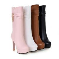 2018秋冬季新品高跟中筒靴性感时尚女靴子粗跟圆头防水台骑士靴
