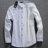 №【2019新款】冬天年轻人穿的男士衬衫男长袖衬衣服韩版修身青年加棉打底寸衫