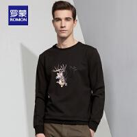 「狂欢!一件3折到手价:143」Romon/罗蒙长袖T恤衫男2018秋季新款圆领中青年宽松时尚印花卫衣