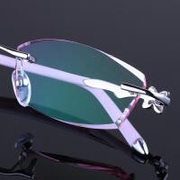 2018 新款韩国风近视眼镜女配无框眼镜架变色老花平光防护目辐射眼镜超轻性感潮流