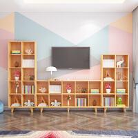 儿童书架简易置物架北欧实木书柜客厅矮柜组合置物柜幼儿园电视柜