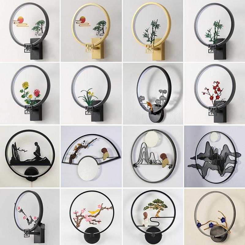 新中式壁灯卧室灯创意个性床头灯禅意壁灯过道灯现代简约中式灯具4hn 时尚  大方