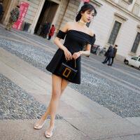 新款夏季性感修身显瘦A普遍短裙抹胸露背聚会派对小礼服连衣裙 黑色
