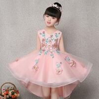 儿童礼服粉色公主裙生日蓬蓬裙钢琴演出服女童走秀小主持人晚礼服 粉红色 粉色前短后长