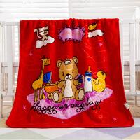 ???毛毯被子 加厚 冬季幼儿园午睡毯子婴儿小抱毯办公室盖腿毯 100cm x 125cm(1.5斤左右)+手提袋