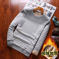 冬装男士长袖T恤加绒加厚韩版条纹针织衫保暖衣服打底衫xx