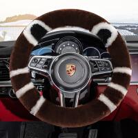 冬天汽车把套女纯羊毛方向盘套冬季韩国可爱皮毛一体短毛绒通用型