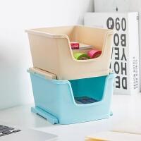 【限时7折】塑料可叠加收纳盒桌面茶几遥控器收纳筐梳妆台化妆品整理盒日式