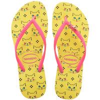 havaianas女款时尚细带人字拖SlimPets平底防滑可爱动物哈瓦那拖鞋黄色2827