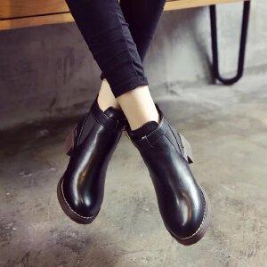 Gress.Dina 女式 秋冬季新款百搭时尚粗跟套脚女靴