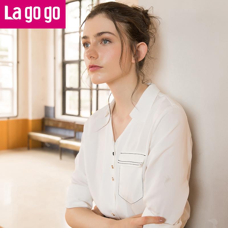 Lagogo/拉谷谷2019春季新款前短后长长袖V领衬衫