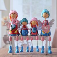 吊脚娃娃摆件大号创意家居装饰工艺品客厅酒柜电视柜摆设结婚礼物 灰色 坐姿一套