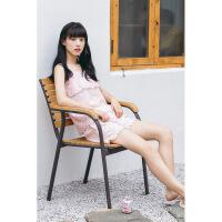 睡衣女夏纯棉休闲吊带短裤梭织棉布薄款甜美家居服套装 X5921607虾粉