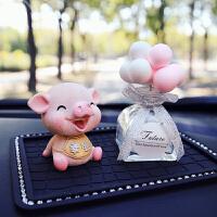 车载香水座车内饰品摆件摇头猪漂亮猫持久淡香薰汽车用品创意装饰