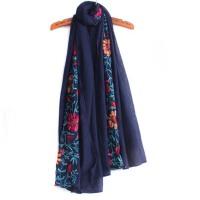 春秋两用纱巾丝巾 冬季女士围脖披肩 刺绣花民族棉麻风围巾