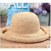 卷边帽百搭户外帽子时尚手工草编遮阳帽子女防晒出游沙滩帽