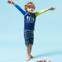 儿童防晒泳衣男童中童沙滩鲨鱼分体游泳衣冲浪服出口 蓝色