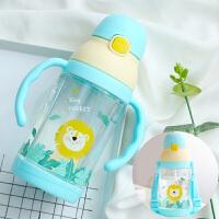 W 幼儿水杯带吸管夏季宝宝水壶漏摔夏天幼儿园儿童专用喝水杯子K30
