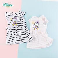 【3件3折到手价:57.9】迪士尼Disney童装 女童连衣裙夏日条纹海军风裙子夏季新品女孩甜美纯棉A字裙