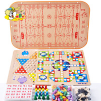 儿童玩具 6合1跳棋飞行棋 军旗 象棋木制益智桌面游戏