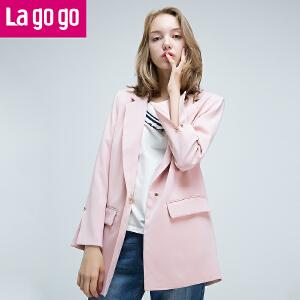 Lagogo/拉谷谷2017年秋新款袖口开叉西装翻领设计外套
