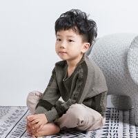 男童毛衣童装2018秋冬新款韩版时尚贴布圆领套头宝宝儿童针织衫