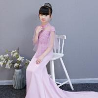 2018新款浅紫色蕾丝钉珠修身显瘦气质女童礼服长款儿童鱼尾时尚裙